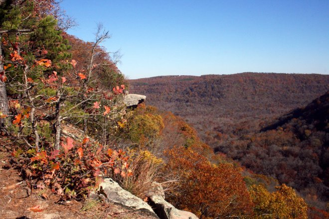 A photo of Hawksbill Crag from said hike.